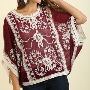 Umgee Wine Floral Embroidered Sheer Top